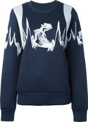 Embroidered Knitted Sweater Women Lyocell S, Blue