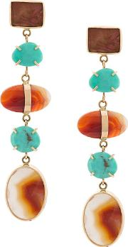 14kt Yellow Gold Agate & Turquoise Earrings