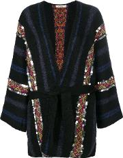 Mes Demoiselles Belted Striped Cardigan Women Cottonpolyamidewoolalpaca 1, Black