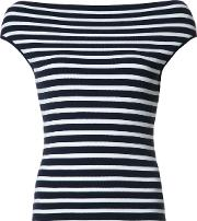 Boatneck Striped Knitted Blouse Women Viscose L