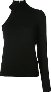 Single Sleeve Knitted Blouse Women Cashmere M, Black
