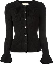 Bell Sleeve Ribbed Cardigan Women Nylonviscose M, Women's, Black