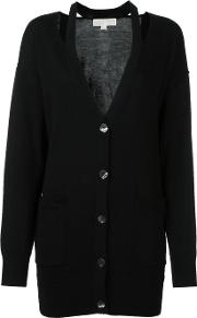 Cut Out Neck Cardigan Women Merino L, Black