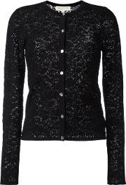 Pointelle Cardigan Women Cottonnylonviscose S, Women's, Black