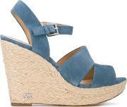 Strappy Wedge Sandals Women Leatherrubber 9.5, Blue