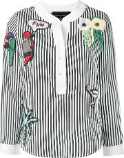 Embellished Striped Blouse Women Cottonpolyester S
