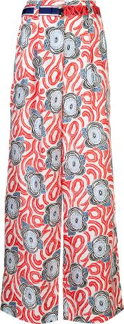 Abstract Print Palazzo Trousers Women Silk 36, Women's, Red