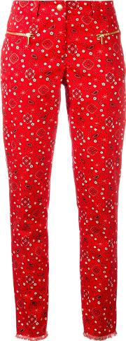 Paisley Print Cropped Trousers Women Cottonspandexelastane 36, Red