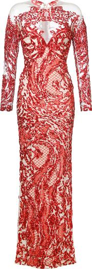 . Sequinned Gown Women Silkpolyamide 38, Red