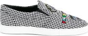 Checked Patched Slip On Sneakers