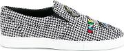 Mira Mikati Checked Patched Slip On Sneakers Women Cottonleatherrubber 41, Black