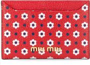 Miu Miu Floral Card Holder Women Leather One Size, Red