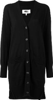 Loose Fit Elongated Cardigan Women Cotton M, Black