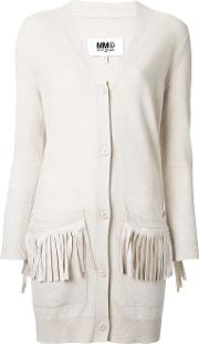 Mm6 Maison Margiela Fringed Pocket Cardigan Women Nylonviscosewool S, Brown