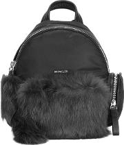 'florine' Backpack Women Leatherrabbit Furpolyester One Size, Black