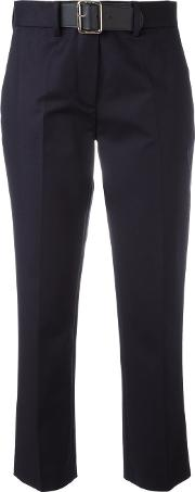 Belted Chino Trousers Women Cottonleatherspandexelastane 46, Blue