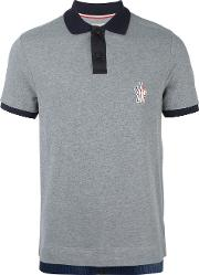 Contrast Collar Polo Shirt Men Cottonpolyamide M, Grey