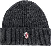 Moncler Grenoble Ribbed Beanie Men Virgin Wool One Size, Grey