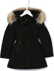 Belted Padded Coat Kids Cottonfeather Downpolyamideracoon Fur 8 Yrs, Girl's, Black
