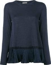 Pleated Hem Top Women Cottonpolyesterviscose S, Blue