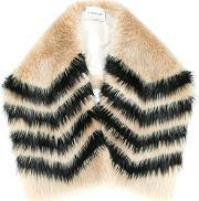 Striped Scarf Women Polyesterbeaver Fur One Size