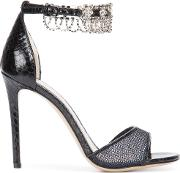 Crystal Embellished Sandals Women Leatherwatersnake Skin 40, Black