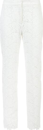 Embroidered Slim Fit Trousers Women Polyester 10, White