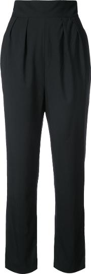 Monique Lhuillier High Waisted Cropped Trousers Women Silk Crepe 2, Black