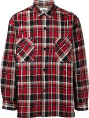 Checked Shirt Men Cotton L, Red