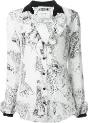 Fashion Show Print Blouse Women Silk 40, White