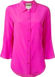 Fluted Sleeve Blouse Women Silk 44, Women's, Pinkpurple