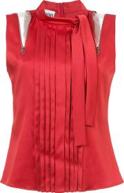 Shoulder Slash Pleated Blouse