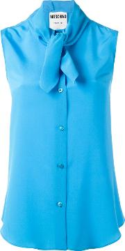 Tie Neck Blouse Women Silk 40, Blue