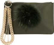 Embellished Clutch Women Cottoncalf Leatherracoon Fur One Size, Green