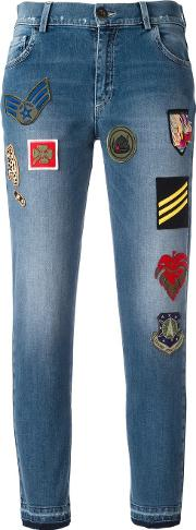 Patched Cropped Jeans Women Cottonpolyesterspandexelastaneviscose