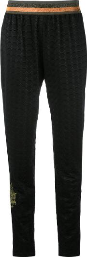 Tapered Trousers Women Polyester 42, Black