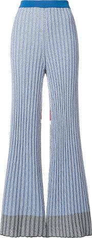 Intarsia Knit Flared Trousers