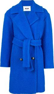 Belted Double Breasted Boucle Coat
