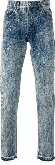 Bleached Straight Jeans Men Cottonpolyester 44, Blue