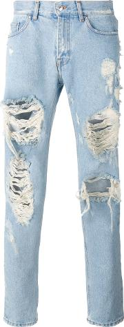 Distressed Loose Fit Jeans Men Cottonpolyester 50, Blue