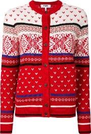 Msgm Embroidered Knitted Cardigan Women Acrylicwool M, Red