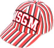 Striped Cap Men Cotton One Size, Red