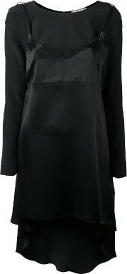 Long Slip Overlay Blouse Women Silk S, Black