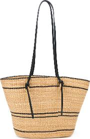 Contrasting Detail Beach Tote Women Straw One Size, Nudeneutrals