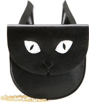 Cat Coin Purse Women Leather One Size, Black