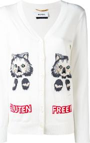Cat Intarsia Cardigan Women Cotton 40, Nudeneutrals