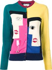Cubism Motif Cardigan Women Cotton 40, Black