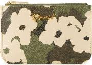 Floral Camouflage Print Purse Women Calf Leather One Size, Green