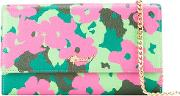 Floral Print Chain Wallet Women Leather One Size, Pinkpurple