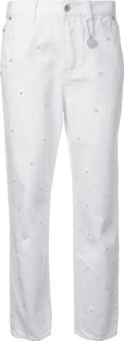 Pearl Embellished Jeans Women Cotton 38, Women's, White